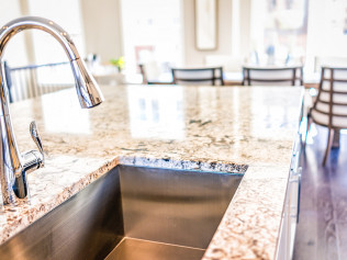granite countertop with sink, bar harbor me